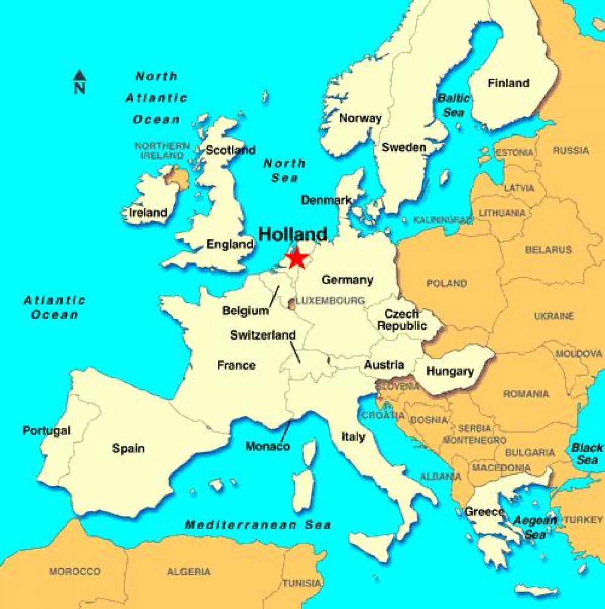 carte europe hollande